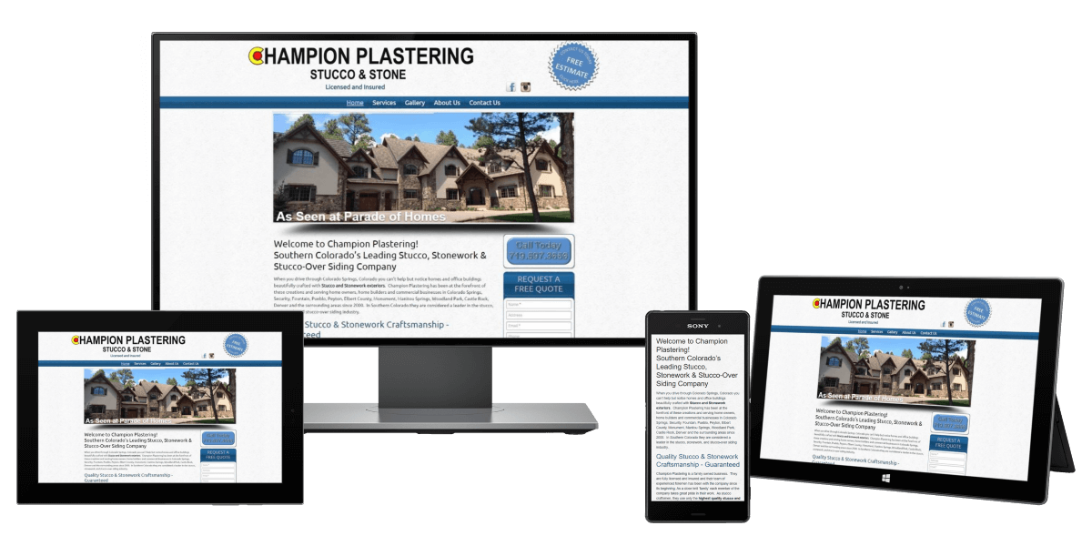 Picture of Champion Plastering Website showing front of luxury home