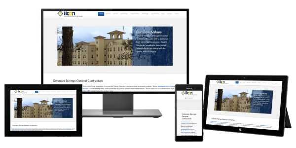 Picture of a the home page of the iiCON Construction Group website