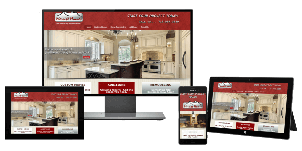 Merritt Homes Website showcasing picture of luxury kitchen with white cabinets